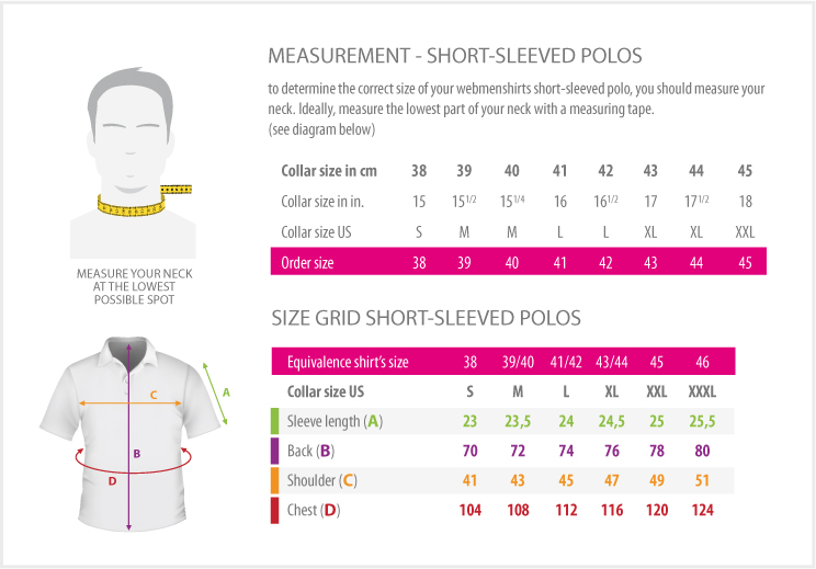 measurements - SHORT-SLEEVED POLOS