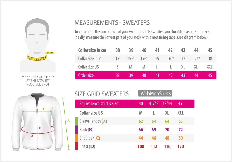 Measures Table - shirts