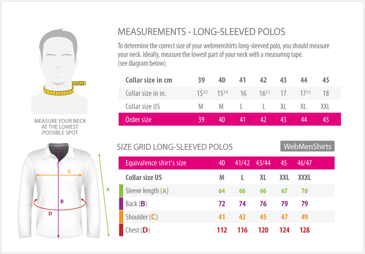 measurements - Long sleeved polos